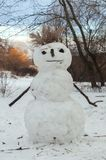 Boneco de neve bonito na floresta do inverno foto de stock royalty free