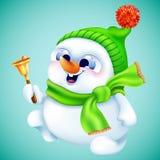 Boneco de neve bonito no chapéu e no lenço do inverno com sino do ouro Fotografia de Stock Royalty Free