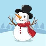 Boneco de neve branco no dia de Natal ilustração royalty free