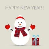 Boneco de neve, cartão, ilustração do vetor Fotografia de Stock Royalty Free