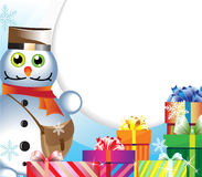 Boneco de neve-carteiro com presentes Foto de Stock Royalty Free