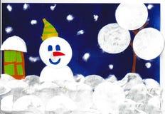 Boneco de neve, casa e snowtree, aplicação da criança ilustração royalty free
