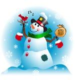Boneco de neve com amigo cardinal Fotografia de Stock Royalty Free