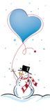 Boneco de neve com balão do amor Fotografia de Stock