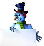 Boneco de neve com borda em branco do sinal - com trajeto de grampeamento Fotografia de Stock Royalty Free