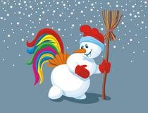 Boneco de neve com cauda e vassoura do galo na mão Fotografia de Stock