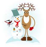 Boneco de neve com cervos Imagens de Stock