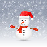 Boneco de neve com chapéu de Santa Imagem de Stock Royalty Free