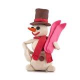 Boneco de neve com esquis Fotos de Stock Royalty Free
