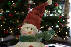 Boneco de neve com lenço e chapéu Foto de Stock