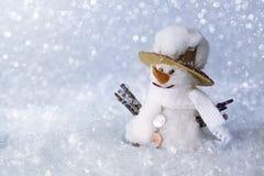 Boneco de neve com neve Fotografia de Stock
