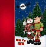 Boneco de neve com o cartão da rena de Santa Imagens de Stock
