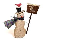 Boneco de neve com pá da neve Imagem de Stock Royalty Free