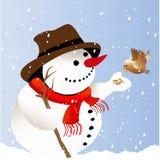 Boneco de neve com pássaro ilustração royalty free