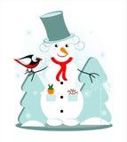 Boneco de neve com pássaro Imagens de Stock