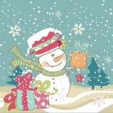 Boneco de neve com presentes Imagens de Stock Royalty Free
