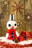 Boneco de neve com presentes Foto de Stock