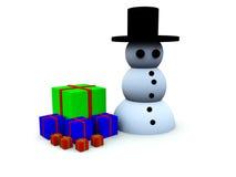 Boneco de neve com presentes Fotografia de Stock Royalty Free