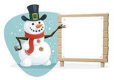 Boneco de neve com sinal em branco Imagens de Stock