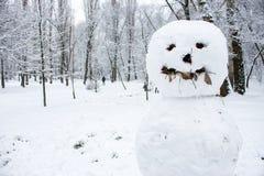 Boneco de neve com sorriso no fim da floresta do inverno acima Família do boneco de neve que começ a árvore de Natal Fundo de Fro imagens de stock royalty free
