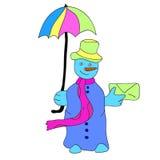 Boneco de neve com um guarda-chuva e uma letra Fotografia de Stock Royalty Free