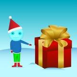 boneco de neve com um presente Foto de Stock Royalty Free