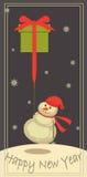 Boneco de neve com um presente Fotografia de Stock Royalty Free