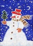 Boneco de neve com uma árvore de Natal Fotos de Stock Royalty Free