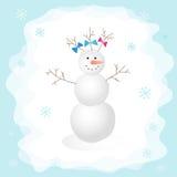 Boneco de neve com uma curva na ilustração do vetor da floresta Aperfeiçoe para cartões do projeto, decoração do feriado, cartão  Fotografia de Stock