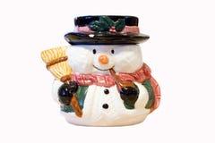 Boneco de neve com vassoura foto de stock royalty free