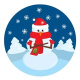 Boneco de neve congelado na floresta do inverno Imagens de Stock