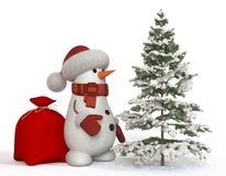 boneco de neve 3d com um abeto Fotografia de Stock Royalty Free