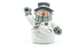 Boneco de neve da lâmpada da argila fotos de stock