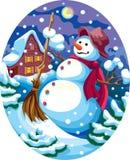 Boneco de neve da noite Fotografia de Stock Royalty Free