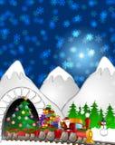 Boneco de neve da rena de Santa no trem na cena do inverno Imagens de Stock Royalty Free