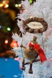 Boneco de neve de madeira do Natal Fotografia de Stock