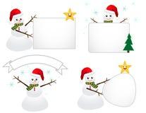Boneco de neve de Santa com sinal Imagens de Stock Royalty Free