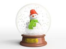 Boneco de neve de sorriso no globo da neve Imagem de Stock Royalty Free