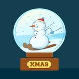 Boneco de neve dentro do Natal Crystal Ball Imagens de Stock Royalty Free