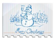 Boneco de neve desenhado mão Fotografia de Stock Royalty Free