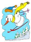 Boneco de neve do esqui Imagens de Stock Royalty Free