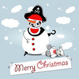 Boneco de neve do Feliz Natal Foto de Stock Royalty Free