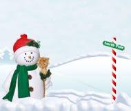 Boneco de neve do inverno no Pólo Norte ilustração stock