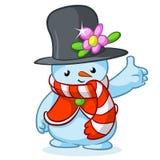 Boneco de neve do Natal com chapéu cinzento e o lenço listrado Ilustração do vetor Imagem de Stock Royalty Free