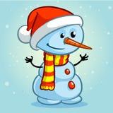 Boneco de neve do Natal com chapéu de Santa e o lenço listrado Ilustração do vetor Fotografia de Stock