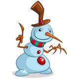 Boneco de neve do Natal com chapéu e o lenço listrado no fundo branco Imagens de Stock