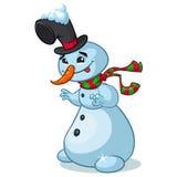Boneco de neve do Natal com chapéu e o lenço listrado no fundo branco Fotografia de Stock Royalty Free