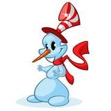 Boneco de neve do Natal com chapéu engraçado e o lenço vermelho no fundo branco Ilustração do vetor Fotos de Stock