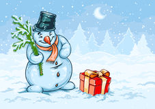 Boneco de neve do Natal e caixa de presente vermelha com curva Imagens de Stock