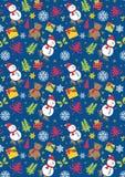 Boneco de neve do Natal, flocos de neve do urso no fundo azul Fotografia de Stock